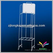 Suporte do compartimento suporte do piso 1 prateleira mostrador do mostrador de fio branco