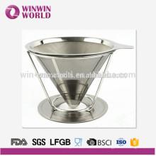 Ventas al por mayor de acero inoxidable Cono de filtro de café para café o té