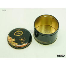 Black tin box with Luxury printing for leisure food.