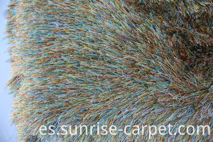 Thin Polyester Shaggy Rug Long Pile mix color