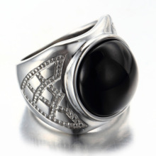 Bague pierre noire en argent 925 pour homme