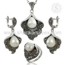 Customer satisfaction gemstone silver jewelry set 925 sterling silver pearl cz wholesale jewelry set exporter