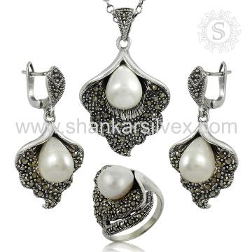 Satisfação do cliente jóias de prata gemstone conjunto 925 prata esterlina pérola cz atacado conjunto de jóias exportador