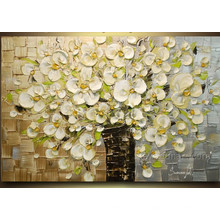 100% peinture à la main à la main à la peinture à l'huile à la fleur (KVF-019)