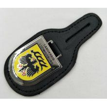 Porte-clés en cuir personnalisé avec badge émaillé imitation