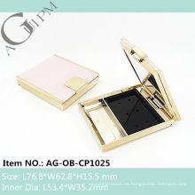 Rectangular compacto polvo compacto caso polvo envase con espejo AG-OB-CP1025, empaquetado cosmético de AGPM, colores/insignia de encargo