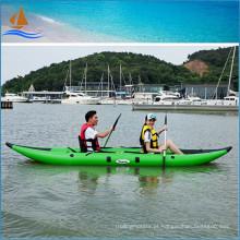 Caiaque para 2 pessoas Caiaque de pesca de cor verde agradável 0,9 mm PVC pequeno barco a remo
