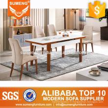 En gros meubles mexicains en marbre haut en bois massif à manger table ensembles