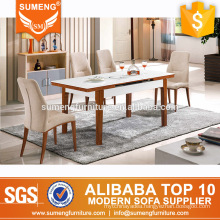 wholesale mexican furniture marble top solid wooden dining table sets