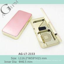 Retrô brilhando retangular compacta em pó caso com espelho AG-LT-2153, embalagens de cosméticos do AGPM, cores/logotipo personalizado