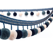 Franja de borla de pompón de bola de algodón de alta calidad