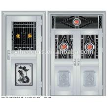 Portas de portão de aço inoxidável de luxo duplo portas de entrada de aço inoxidável de segurança