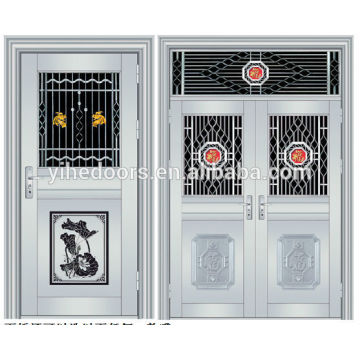 Luxury stainless steel double entry doors security stainless steel gate doors