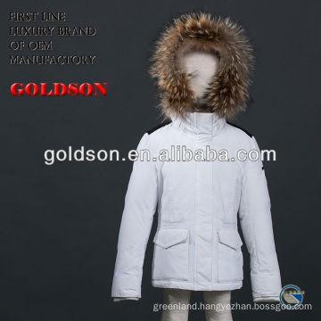 Pure white and big raccoon fur Girl's down jacket