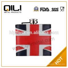 Оптовые продажи 6oz американский флаг фляга с кожи покрыты