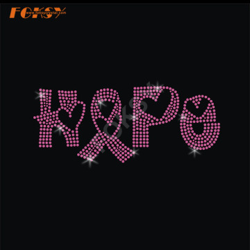 Hope Pink Ribbon Heat Rhinestone Motif