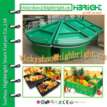 high quality acrylic triangle style end shelf for vegetables and fruits
