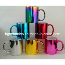 Electrochapando la taza de cerámica, taza metálica