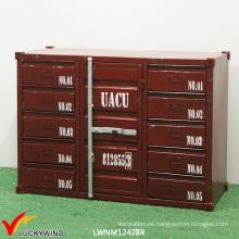 Gabinete de contenedor de metal hecho a mano industrial de la vendimia