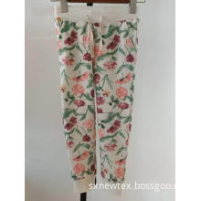 casual CVC printed floral rib waist girls pant