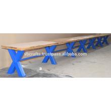 Industrial Vintage Bar Bench Blue Cross Metal Legs
