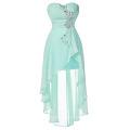 Grace Karin 2016 Vestidos de partido de vestido de fiesta de gasa de gasa de los cequis de la turquesa pálida sin tirantes del nuevo diseño sin tirantes GK000042-1