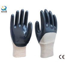 Cotton Interlock Shell Blue Nitrile Half Coated Safety Work Gloves (N6038)