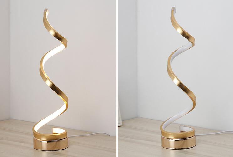 Spiral aluminum LED strip reading lamp