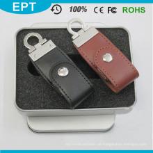 Günstige Leder USB Flash Memory Stick USB mit voller Kapazität für kostenlose Probe