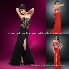 NY-2172 Lacey estilo espartilho top strapless com contas e rhinestones vestido de noite