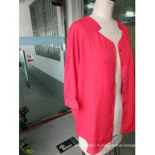 Chemise de dames à col montant à manches longues rose attrayant