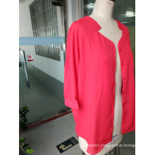 Spring Bright Pink Attractive Long Sleeve Standing Collar Ladies Shirt