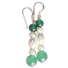 Mediumseagreen Hematite Earring With 925 Silver Hook