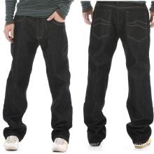 Wholesale 2017 Basic Men′s Black Cotton Loose Jeans