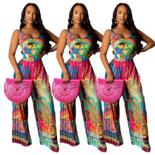 2021 New Product Print Pleated Sexy Halter Backless Wide-Leg Jumpsuit