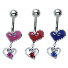 Jewelled Silver Steel Heart Drop Belly Bar