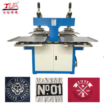 2 Heads Trademark Embossing Machine untuk Garment