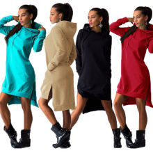 Plus Size Herbst Frauen Kapuzenjacke Kapuzen Sweatshirt mit Split Dress