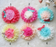 Chiffon Flowers Hollow Lace Bow Hair Barrette Hair Pin , Large Hair Clip, Hair Accessories Jewelry