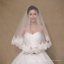 Einfache Design Eine Schicht Kurze Elfenbein Hochzeit Schleier