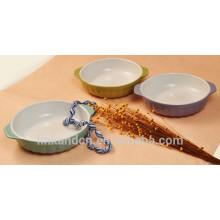 Haonai colorido cerámica de belleza pet bowl