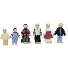 Ensemble de poupées familières heureuses en bois