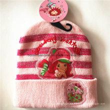 OEM Produce personalizada de dibujos animados de color rosa Applique Knit acrílico Beanie Hat niños