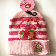 OEM Produce Customized Cartoon Pink Applique Knit Acrylic Children Beanie Hat