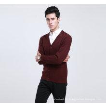 Bn1488yak Wolle / Kaschmir V-Ausschnitt Strickjacke Langarm Pullover / Kleidung / Garment / Strickwaren