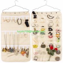 40 bolsillos y 20 lengüetas de gancho y bucle Organizador de joyería colgante Bolsa de almacenamiento de doble accesorio para el hogar