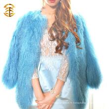 Nouveau motif de design italien Manteau de fourrure d'agneau mongol réelle Manteaux de fourrure courte