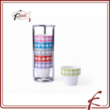 6 pcs set decal pattern durable porcelain egg cup with iron holder