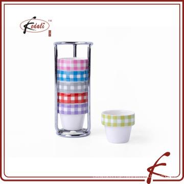 6 Stück Set Decal Muster haltbare Porzellan Eierbecher mit Eisenhalter