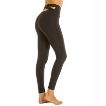 Femmes taille haute pantalon de yoga ceinture croisée